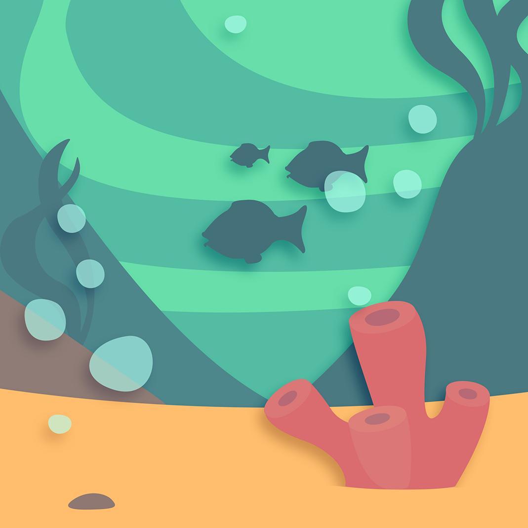 Illustratin of ocean life scene